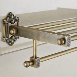 Bathroom Shelves Dual Tier Brass Wall Bath Shelf Towel Rack Holder Hangers Rails Home Decorative Accessories Towel Bar LAD-71208