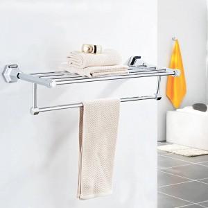 Bathroom Shelves High Quality Wall Mounted Black Chrome Finish Towel Rack Holder Hanger Bath Towel Clothes Storage Shelf 93012