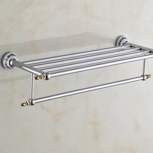 Bathroom Shelves Metal Chrome Silver Wall Bath Shelf Holder For Towel Hanger Towel Rail Bathroom Accessories Towel Bars ST-6312