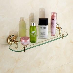 Bathroom Shelves Single Tempered Glass Antique Brass Towel Bar Cosmetic Racks Hanger Storage Home Deco Bath Wall Shelf HJ-1313