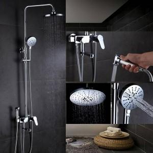 Bathroom Shower Faucet Set Bathtub Faucets Shower Mxer Tap Bath Shower Taps Waterfall Shower Head Wall Mixer Torneira Tap 877013