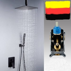 Bathroom shower set Square Concealed Matte Black shower set Ceiling into the wall 8/10/12 inch Top spray shower Faucet XT408