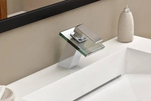 Bathroom sink basin mixer tap chromed brass square glass waterfall Faucet BF036