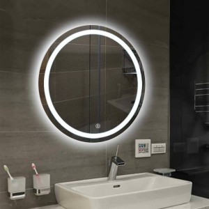 Bathroom wall LED light mirror round wall hanging washroom toilet makeup mirror touch switch White warm light mx12151606