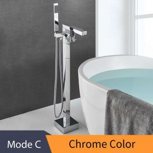 Bathtub Faucet Brass Chrome Floor Mount Bathroom Faucet Swivel Spout Single Handle Tub Filler Hand Shower Sprayer Mixer Tap