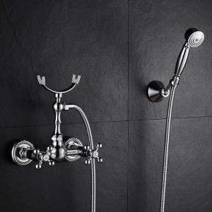 Bathtub Faucet Brass Chrome Silver Wall Mounted Rain Shower Faucet Round Handheld 2 Handle Luxury Bathroom Mixer Tap Set XT364