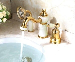 Bathtub Faucet Brass Gold Deck Bathroom Sink Faucet Set 3 PCS Ceramic Diamond Handheld Shower Washroom Basin Mixer Tap 5632K