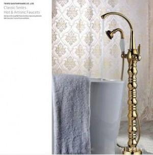 Bathtub Faucet Brass Golden Floor Stand Bathroom Faucet Set Round Rain Shower Handheld Luxury Telephone Type Mixer Tap V1313