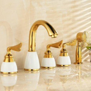 Bathtub Faucet Brass White Ceramics Gold Luxury 5 Hole Bathroom Faucet Set Rainfall Shower Hand Basin Hot Cold Mixer Tap SE-7128