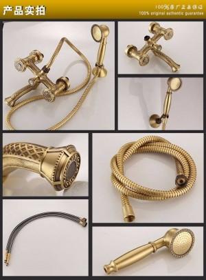 Bathtub Faucets Antique Brass Bath Rain Shower Faucet Head and Handheld Shower Faucet 2 Handel Bathroom Wall Mounted Tap