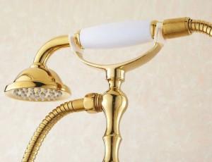 Bathtub Faucets Bathroom Gold Floor Stand Faucets Telephone Type Bath Shower Mixer Brass Shower Set Luxury Bathtub Tap HJ-5028K