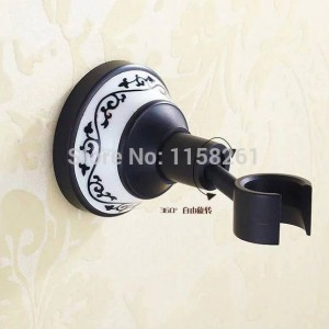 Bathtub Faucets Black Painted Brass Shower Faucets Dual Handle Wall Mounted Bath And Shower Faucet With Handheld Showers SY-019R