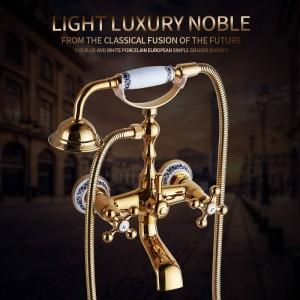 Bathtub Faucets Brass Gold Bathroom Shower Faucet Set Rainfall Single Handle Shower System Wall Mounted Shower Mixer Tap HS-G020
