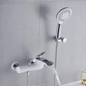Bathtub Faucets Chrome Bath Shower Set White Shower Set Bathtub Mixer Tap Dual Contral Shower Wall Mounted For Bathroom LAD-6019
