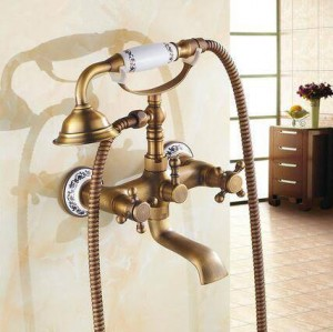 Bathtub Faucets Wall Mounted Antique Brass Brushed Bathtub Faucet With Hand Shower Bathroom Bath Shower Faucets Torneiras XT354