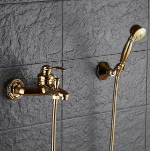 Bathtub Faucets Wall mounted Gold/Chrome Shower Faucets For the Bath Solid Brass Bathroom Shower Without Slid Mixer Tap XT361