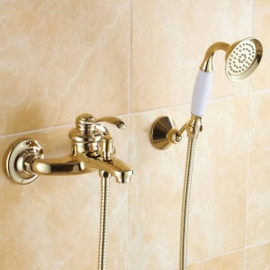 Bathtub Faucets Wall mounted Gold Shower Faucets For the Bath Solid Brass Bathroom Shower Without Slid Bar Mixer Tap HJ-6790
