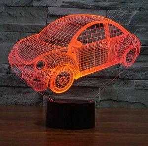 Beatles car 3D illusion lamp,LED usb touch switch nightlight Colorful gradient Acrylic engrave 3D visual creative night light