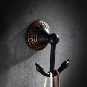 Bella Retro Solid Brass Wall Mounted Double Robe Hook Antique Black