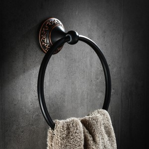 Bella Retro Wall Mounted Bath Towel Ring Solid Brass in Antique Black