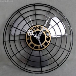 Best Selling Products Antique Electric Fan Wall Clock Continental Retro Fan Clocks Table Creative Wall Wall Clock Mute