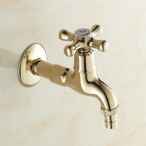 Bibcock Gold Brass Wall Mount Washing Machine Faucet Bathroom Corner Small Tap Mop Pool Decorative Outdoor Garden Faucet 8587K