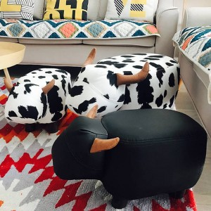 Big Sale!Leather Sofa Ottoman Shoe Stool Pouf Chair Bean Bag Kid Toys Storage Footstool Solid Wood Nordic Home Deco Furniture