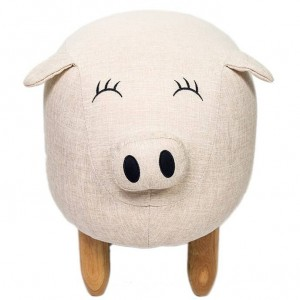Big Sale! Shoe Stool Pouf Chair Cloth Sofa Ottoman Bean Bag Little Pig Kid Toy Footstool Solid Wood Nordic Home Deco Furniture