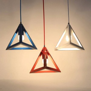 LED Pendant lights modern simple macaron colors Triangle Iron art pendant lamp Foyer bedroom kids room lighting fixture