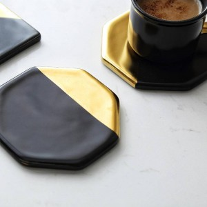 Black Marble Plating Gold Ceramic Coaster Cup Mats Pads Home Decorations Kitchen Tools Desktop Non-slip Luxury Pad Europe Style