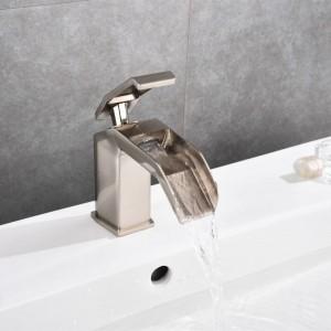 Black waterfall basin faucet bathroom black crane deck mounted sink tap cold and hot mixer tap basin mixer black tap B565