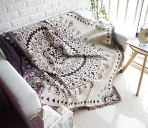 Bohemia Style Geometry Throw Blanket Sofa Decorative Slipcover Cobertor on Sofa/Beds/Plane Travel Non-slip Stitching Blankets