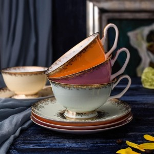 Bone Porcelain Tea Cups Set High Grade Ceramic Cups And Saucers For Coffee 200ML Drinkware Set
