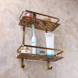 brass Bathroom Accessory Kitchen And Bathroom Shelf Dual Tier With Hook Shower Bracket Basket 9102K