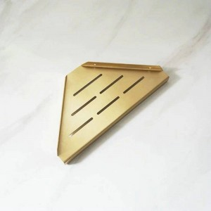 Brass Brushed Bathroom Shelves Single Dual Triple Tier Triangle Corner Shelf Shampoo Shelf Kitchen Shelf