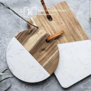 Bread plate marble chopping board walnut splicing western dish tray