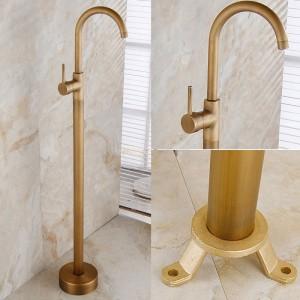 Brewst Antique Brass One Lever Freestanding Tub Faucet Swivel Filler Spout Solid Brass