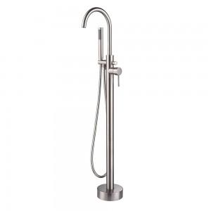 Brewst Brass Freestanding Bathtub Faucet Floor Mount Tub Filler with Handshower in Brushed Nickel