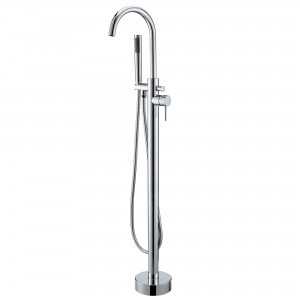 Brewst Contemporary Floor Mount Tub Filler Brass Freestanding Bathtub Faucet with Hand Shower Polished Chrome