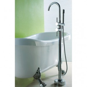 Brewst Contemporary Freestanding Polished Chrome Bathtub Filler Faucet and Handheld Shower with High-Arc Spout Solid Brass