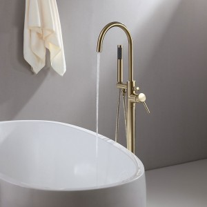 Brewst Contemporary Freestanding Single Handle Tub Filler Faucet with Handheld Shower Solid Brass in Brushed Gold