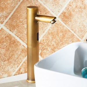 Brewst Contemporary Touchless Electronic Solid Brass Single Hole Vessel Hot & Cold Sink Faucet for Bathroom in Polished Chrome / Antique Brass