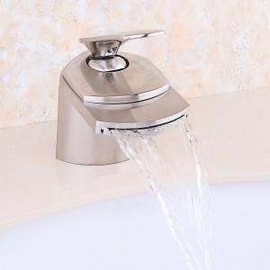 Bric Modern 1-Hole Waterfall Bathroom Sink Faucet Single Handle in Brushed Nickel Solid Brass