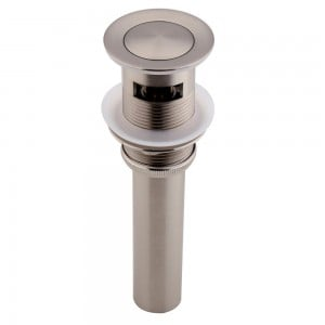 Brushed Nickel Press-Style Pop Up Sink Drain Assembly with Overflow Solid Brass