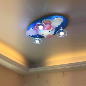 Cartoon Ceiling Energy-saving Lamp Led Children's Room Bedroom Boys And Girls Kitty Hello Kitty Bluetooth Remote Control 220V