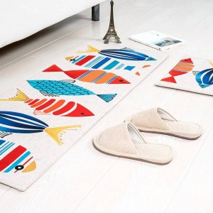 Cartoon pattern fish MAT Square Cushion Kitchen Door Pad Bathroom Non-slip Remove dust Door Mats Table Carpet Bedding Kitty rugs