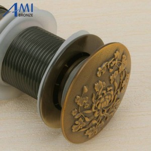 Carved Bathroom Basin Sink Drainer Push Down Pop-up Drain Overflow/Non-overflow water waste stopper Assembly
