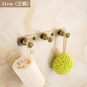 Carved Flower Antique Brushed Brass Clothes Hook Bathroom Hardware Robe Hooks Bathroom Fixture Hook 2312A