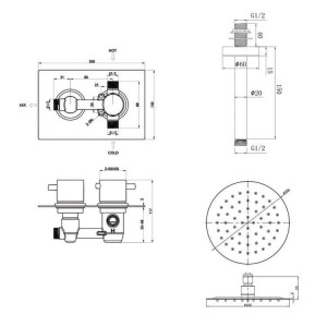 Ceiling Thermostatic Square Mixer Shower Valve
