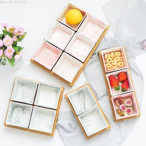 ceramic bamboo Imitation marble tray set Snack plate fruit bowl dish plate tableware breakfast tray kitchen home supply